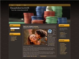 Chips in Gratis Wordpress Template für einen Poker Blog